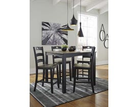 Signature Design by Ashley Froshburg Series 5pc Square Counter Table Set in Grayish Brown D338
