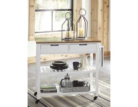 Signature Design by Ashley Withurst Series Kitchen Cart in White/Light Brown D350-166
