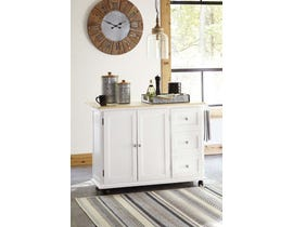 Signature Design by Ashley Withurst Series Kitchen Cart in White/Light Brown D350-486
