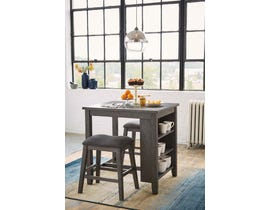 Signature Design by Ashley Caitbrook Series 3pc Counter Height Table Set in Antique Gray D388