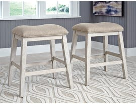 Signature Design by Ashley Skempton Upholstered Stool (Set of 2) in White/Light Brown D394-024