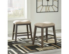 Signature Design by Ashley Rokane Upholstered Stool (Set of 2) in Light Brown D397-024