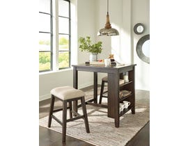 Signature Design by Ashley Rokane Series 3pc Counter Table Set in Light Brown D397-113