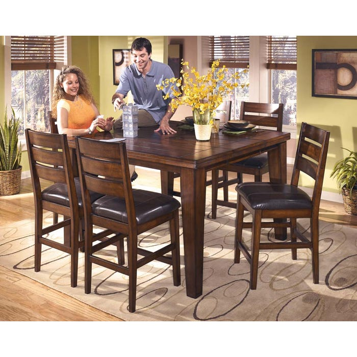 Enjoyable Signature Design By Ashley Dining Table And Chair Set In Burnished Dark Brown D442D25 Download Free Architecture Designs Ferenbritishbridgeorg