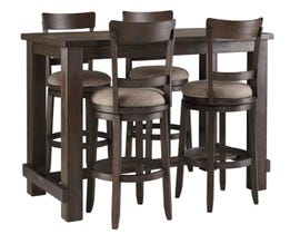 Signature Design by Ashely Drewing Series Bar Height Dining Set with 4 Stools in brown D538-12-130x4