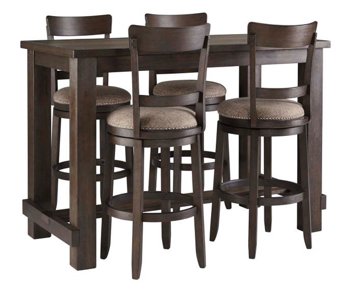 Enjoyable Signature Design By Ashely Drewing Series Bar Height Dining Set With 4 Stools In Brown D538 12 130X4 Uwap Interior Chair Design Uwaporg