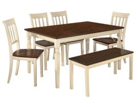 Signature Design by Ashley 6pc Dining Table and Chair Set in Brown/Cottage White D583D10