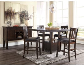 Signature Design by Ashley Haddigan 6pc Counter Dining Set with Server in Dark Brown D596-42-124(4)-60
