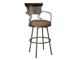 Signature Design by Ashley Moriann Tall Upholstered Swivel Bar Stool (Set of 2) in Two-Tone Brown D608-630