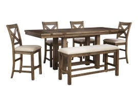 Signature Design by Ashley Dining Table and Chair Set in Grayish Brown D631D3
