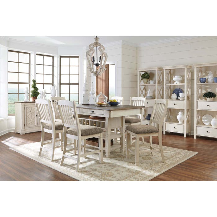 Ashley Bolanburg series 7 piece two-tone pub dining set D647