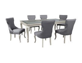 Signature Design by Ashley Dining Table and Chair Set in Silver Finish D650/01(6)/35
