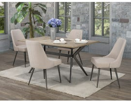Brassex Celine 5-Piece Dining Set in Rustic Oak/Beige D655-5-BEI