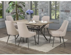 Brassex Celine 7-Piece Dining Set in Rustic Oak/Beige D655-7-BEI