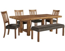 Signature Design by Ashley 6 -Piece Wooden Dining Room Set with Bench in Light Brown D714