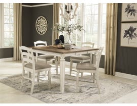 Signature Design by Ashley Realyn 5pc Square Extending Dining Set in Chipped White D743-32-124(4)