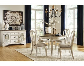 Signature Design by Ashley Realyn 5pc Oval Extending Dining Set in Chipped White D743-35-02(4)