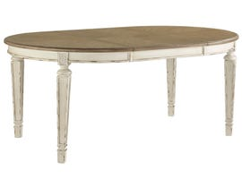 Signature Design by Ashley Realyn Series Oval Extending Dining Table in Chipped White D743-35