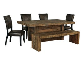 Signature Design by Ashley Dining Table and Chair Set in Brown D775D6