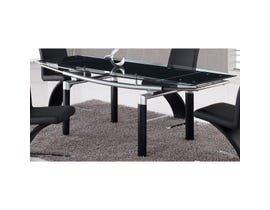 Global Furniture Dining Table, Black Legs, Black Glass