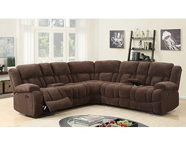 Kwality Imports Dawson Collection Fabric Power Reclining Sectional in Chocolate 70420