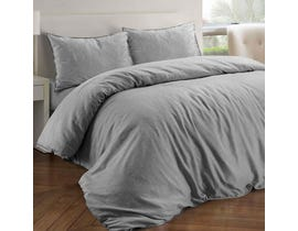 Millano Collection Royal Linen Grey 3pc Duvet Cover Set Grey DE-RLNSD-GRY