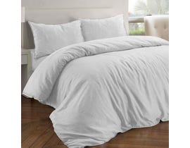 Millano Collection Royal Linen White 3pc Duvet Cover Set White DE-RLNSD-WHT