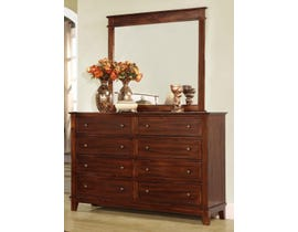 Flair Desoto Series Dresser and Mirror in Walnut