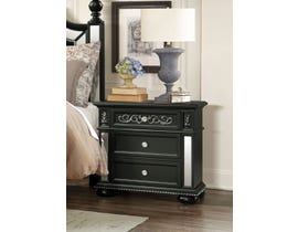 Global Furniture Diana Black Nightstand w/ USB Port BL-NS