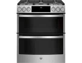 GE Profile 30 inch 6.7 cu. ft. Smart Slide-In Gas Double Oven Convection Range in Stainless Steel PGS960SELSS