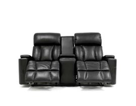 Amalfi Regis Series Power Reclining Loveseat W/Blue LED Lights and Power Headrest in Black RBT8638B-52D