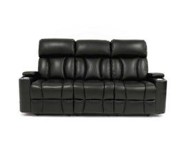 Amalfi Regis Series Power Reclining Sofa W/Blue LED Lights and Power Headrest in Black RBT8638B-53B