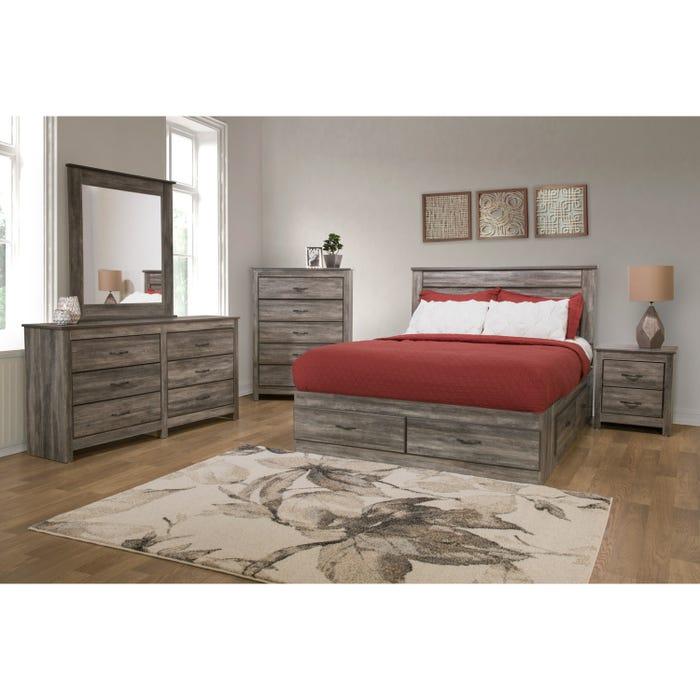 Modern Furniture 6 Piece Suede Grey Double Bedroom Set 6720