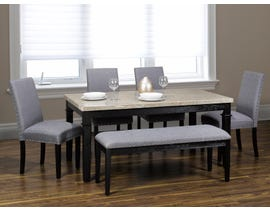 K-Living Nancy 6 pc Marble Top Dining Set with 4 Chairs and a Bench  In Grey