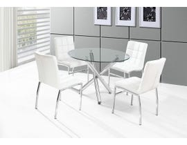 K Living 5 Piece Weston Dining Set in White DT-811