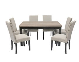 K-Living Elisa 7pc Set Wood Top And Espresso Finished Legs Dining Table With Fabric Upholstered Dining Chairs in Beige DTS113-6-BE