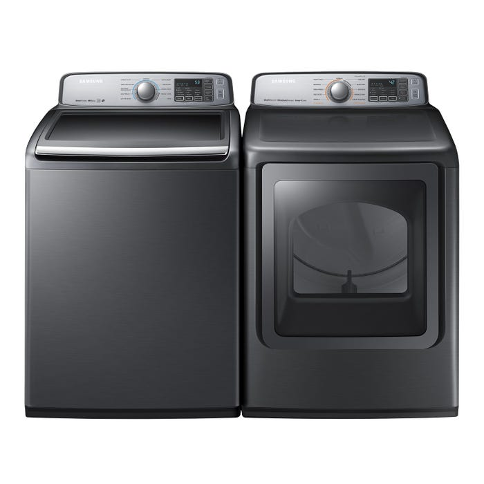 Samsung Top & Front Load Laundry Pair with Washer WA50M7450AP and Electric Dryer DVE50M7450P
