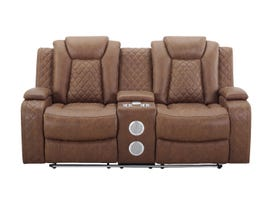 New Classic Dyer Series Manual Reclining Loveseat with Console and Speakers in Daytona Tan U1716