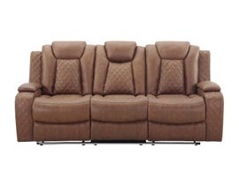 New Classic Dyer Series Manual Reclining Fabric Sofa in Daytona Tan U1716