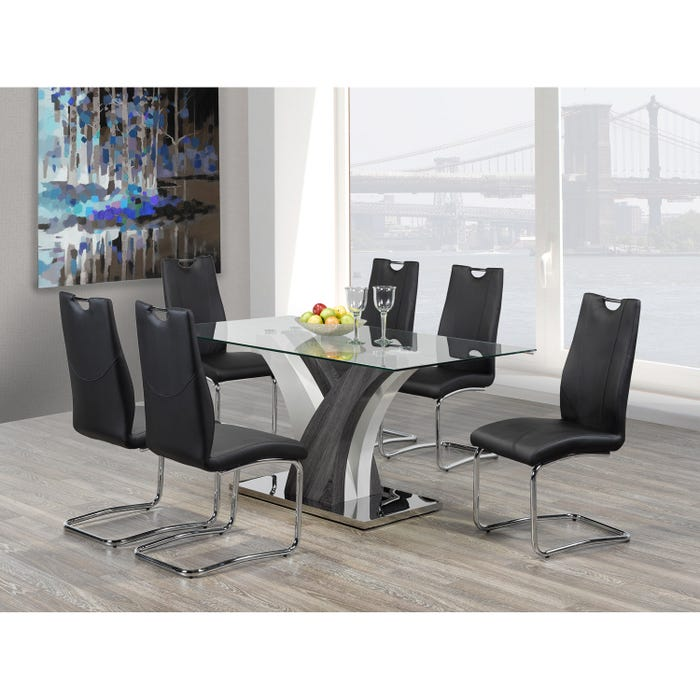 Brassex Jerome Glass Dining Table Grey F-790 (Table)
