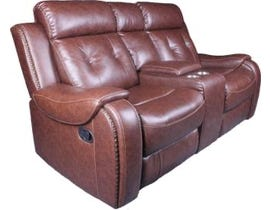 Baker Series Leather Gel Reclining Loveseat in Cognac 170