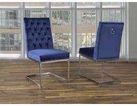 K Living Megan Tufted Velvet Chair in Blue with Stainless Steel Legs (Set of 2) F3504-BL