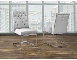 K Living Megan Tufted Velvet Chair in Grey with Stainless Steel Legs (Set of 2) F3504-GR