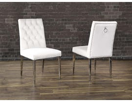 K Living Regan Tufted Velvet Chair in Beige with Stainless Steel Legs (Set of 2) F457-BE