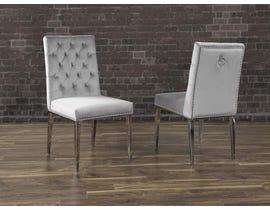 K Living Regan Tufted Velvet Chair in Grey with Stainless Steel Legs (Set of 2) F457-GR