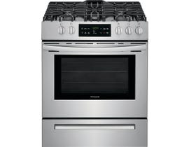 Frigidaire 30 inch 5.0 cu. ft. Front Control Free Standing Gas Range in Stainless Steel FFGH3054US