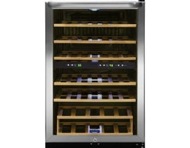 Frigidaire 21.5 inch 4.4 cu. ft. 38 bottle freestanding two zone wine cooler in stainless steel FFWC3822QS