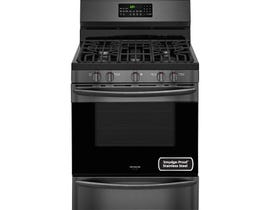 Frigidaire Gallery 30 inch 5 cu.ft. true convection gas range in Black Stainless FGGF3059TD