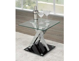Brassex Amara Collection Glass End Table in Black G-343
