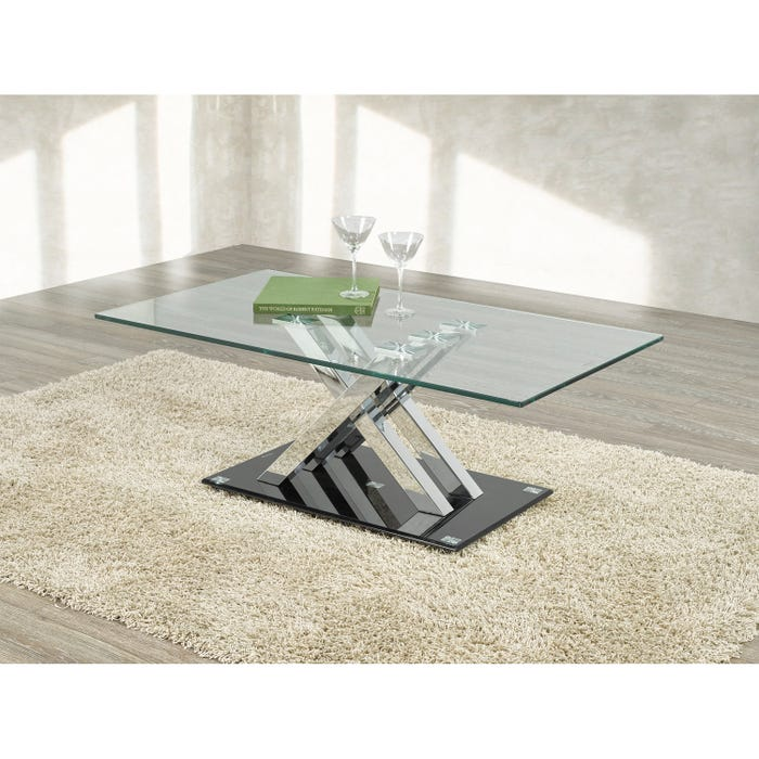 Brassex Amara glass Coffee Table in Chrome and black G-343